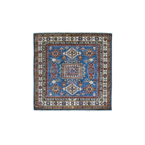 Square Blue Super Kazak Pure Wool Geometric Design Hand-Knotted Oriental