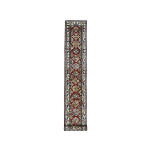 Red Super Kazak Pure Wool Geometric Design Hand-Knotted XL Runner Oriental