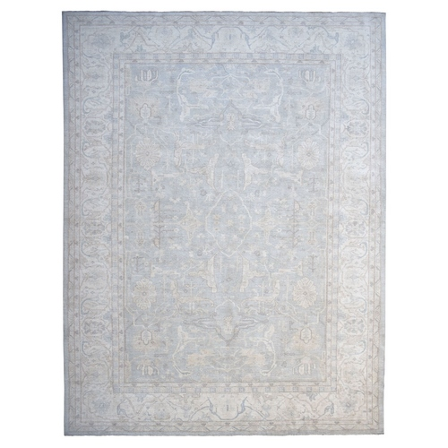Oversized White Wash Peshawar Pure Wool Hand-Knotted Oriental