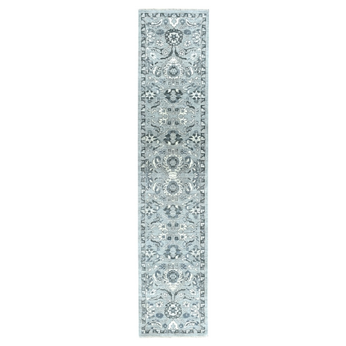 Undyed Natural Wool Mahal Design Runner Hand Knotted Oriental Rug