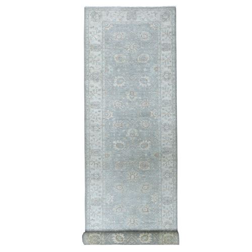 White Wash Peshawar Pure Wool Hand-Knotted Wide Runner Oriental