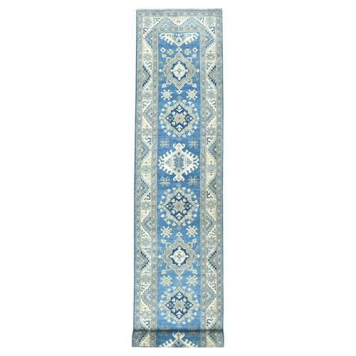 Hand Knotted Blue Vintage Look Kazak Wool XL Runner Oriental