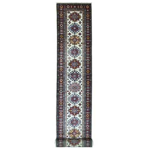 Ivory Super Kazak Pure Wool Geometric Design Hand-Knotted XL Runner Oriental