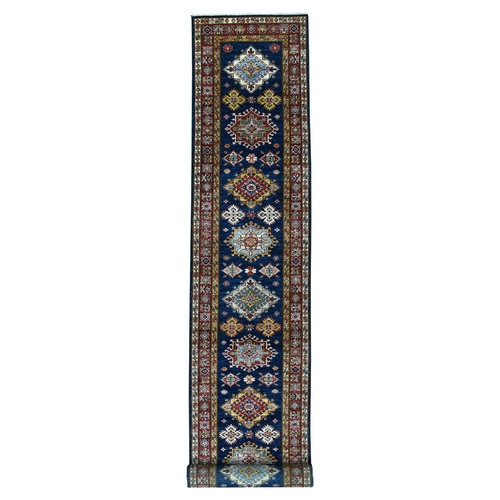 Blue Super Kazak Pure Wool Geometric Design Hand Knotted XL Runner Oriental