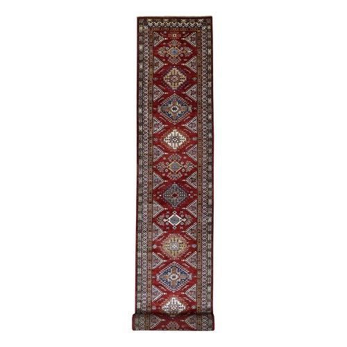 Red Super Kazak Geometric Design XL Runner Pure Wool Hand Knotted Oriental