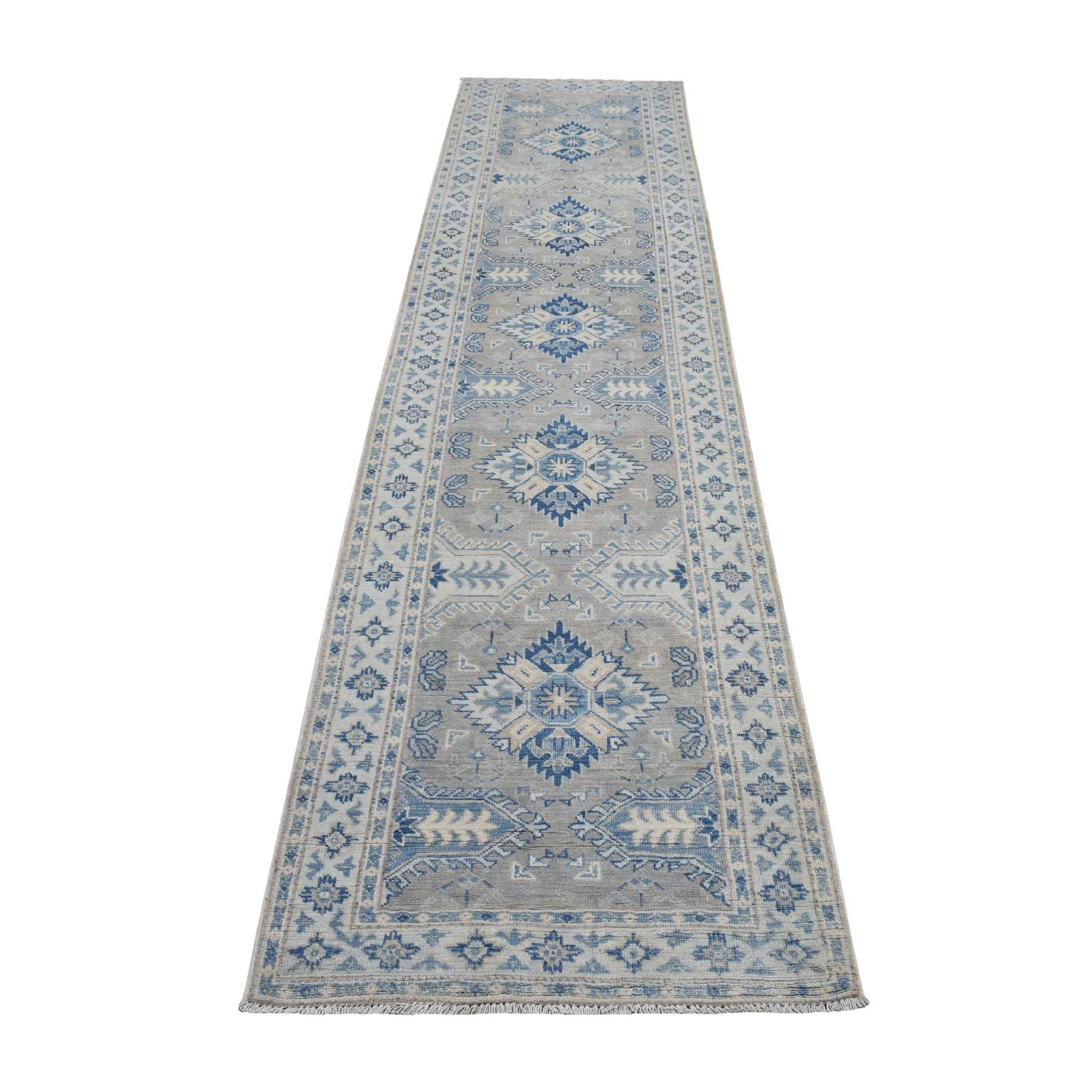 Vintage Look Kazak Geometric Design Gray Runner Pure Wool Hand Knotted Oriental