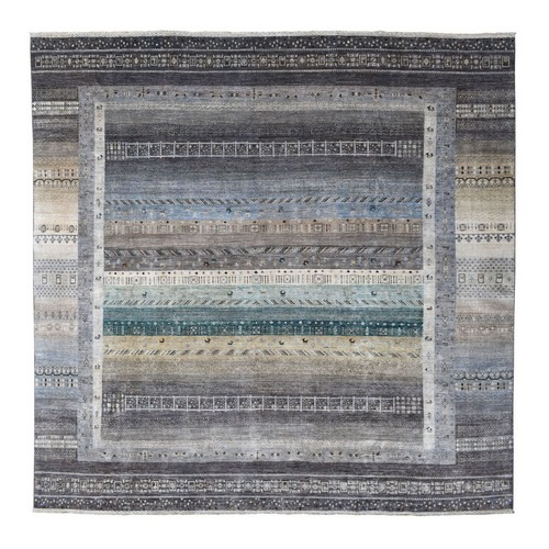 Gray Square Pure Wool Kashkuli Gabbeh Pictorial Hand Knotted Oriental Rug