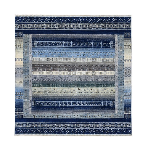 Blue Square Pure Wool Kashkuli Gabbeh Pictorial Hand Knotted Oriental Rug