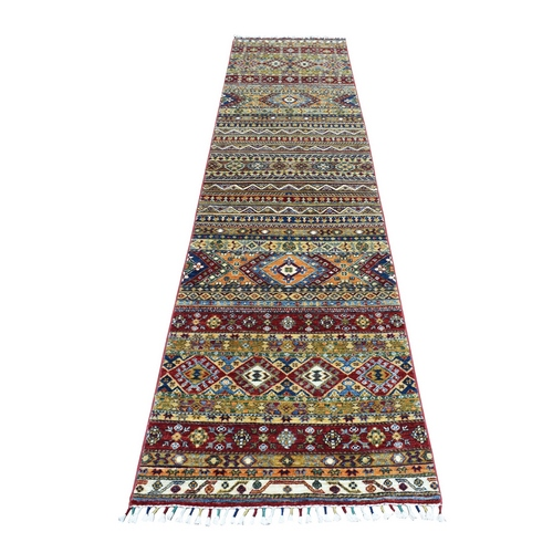 Khorjin Design Colorful Super Kazak Pure Wool Runner Hand Knotted Oriental Rug