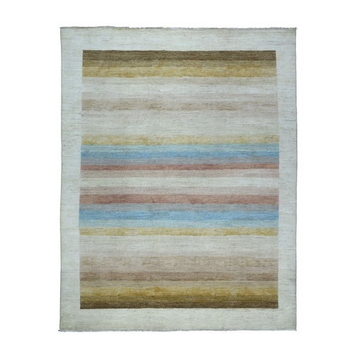 On Clearance Colorful Hand Knotted Striped Gabbeh Pure Wool Oriental