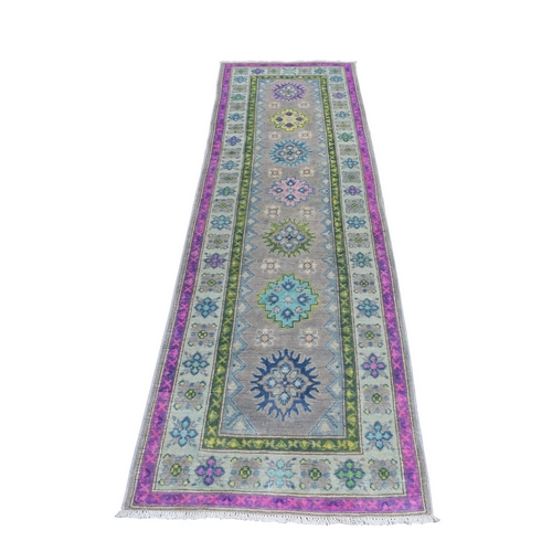 Colorful Gray Fusion Kazak Runner Pure Wool Geometric Design Hand Knotted Oriental