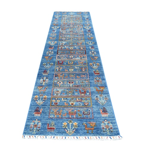 Blue Kashkuli Design Super Kazak Pure Wool Runner Hand Knotted Oriental