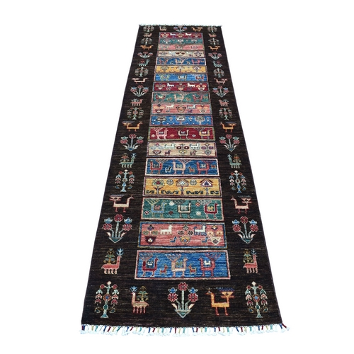 Khorjin Design Runner Black Super Kazak Pictorial Hand Knotted Pure Wool Oriental Rug