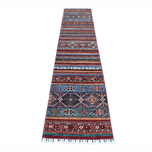 Khorjin Design Runner Red Super Kazak Geometric Hand Knotted 100% Wool Oriental