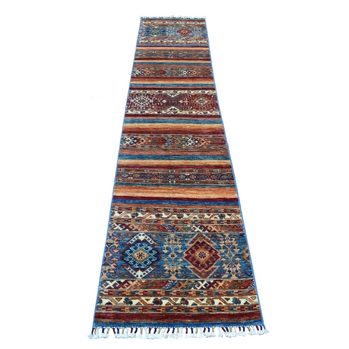 Khorjin Design Runner Blue Super Kazak Tribal Hand Knotted Pure Wool Oriental