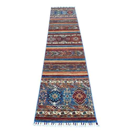 Khorjin Design Runner Red Super Kazak Tribal Hand Knotted Pure Wool Oriental