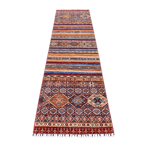 Red Khorjin Design Runner Super Kazak Geometric Pure Wool Hand Knotted Oriental Rug