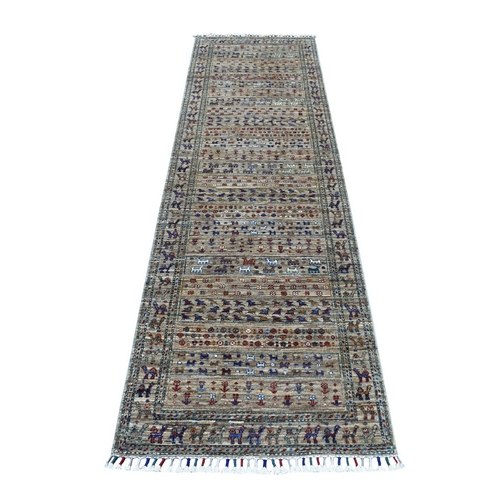 Green Khorjin Design Runner Super Kazak Pictorial Hand Knotted Pure Wool Oriental Rug
