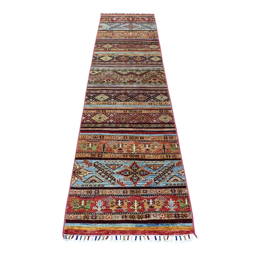 Orange Khorjin Design Runner Super Kazak Tribal Pure Wool Hand Knotted Oriental Rug