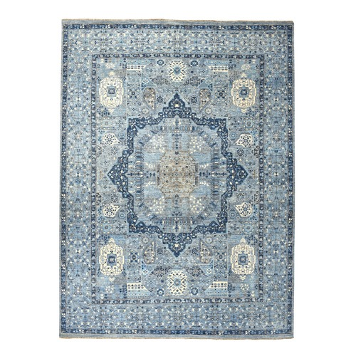 Blue Peshawar With Mamluk Design Pure Wool Hand Knotted Oriental