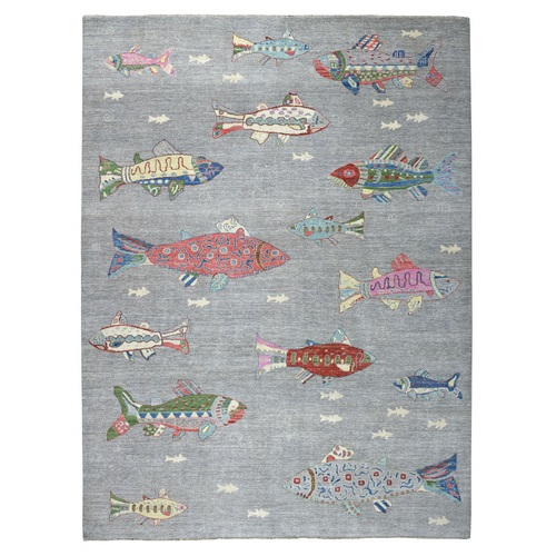 Oceanic Fish Design 100% Wool Peshawar Hand Knotted Oriental