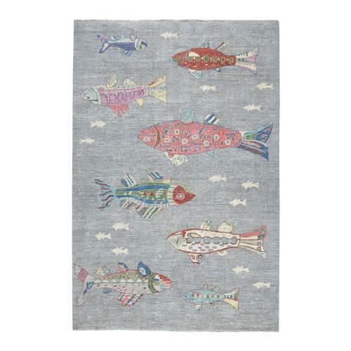 Oceanic Fish Design 100% Wool Peshawar Hand Knotted Oriental Rug