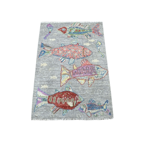 Oceanic Fish Design Pure Wool Peshawar Hand Knotted Oriental Rug