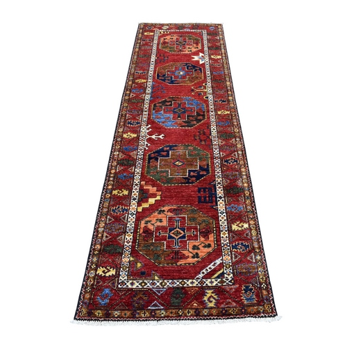 Red Afghan Ersari Elephant Feet Design Pure Wool Hand Knotted Oriental