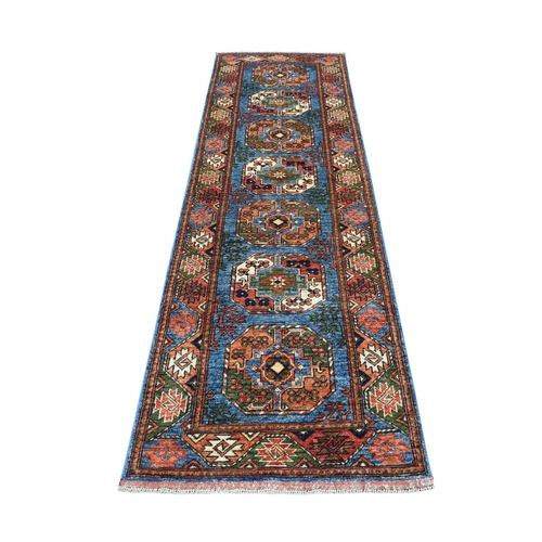 Blue Afghan Ersari Runner Elephant Feet Design Pure Wool Hand Knotted Oriental Rug