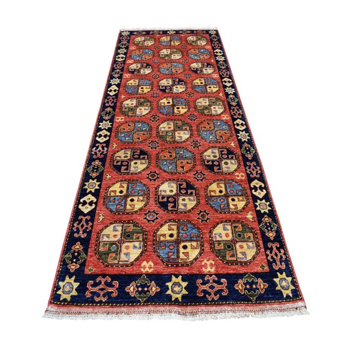 Red Afghan Turkoman Ersari Wide Runner Tekke Design Hand Knotted Pure Wool Oriental Rug