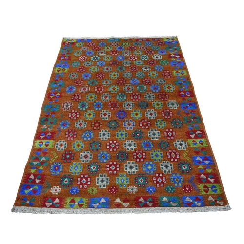 Brown Tribal Design Colorful Afghan Baluch Hand Knotted Pure Wool Oriental