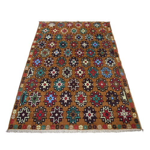 Brown Hand Knotted Colorful Afghan Baluch Tribal Design Pure Wool Oriental