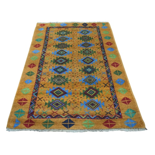 Natural Dyes Colorful Afghan Baluch Geometric Design Hand Knotted Pure Wool Oriental