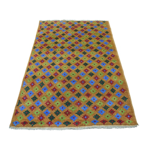 Brown Tribal Design Colorful Afghan Baluch Pure Wool Hand Knotted Oriental Rug