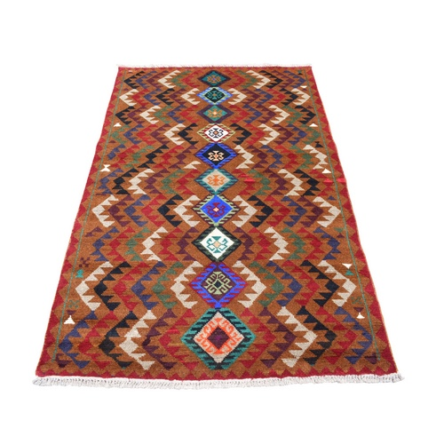 Brown Geometric Design Colorful Afghan Baluch Hand Knotted 100% Wool Oriental Rug