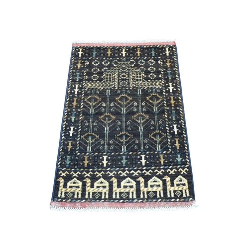 Natural Dyes Afghan Ersari Pictorial Design Pure Wool Hand Knotted Oriental Rug