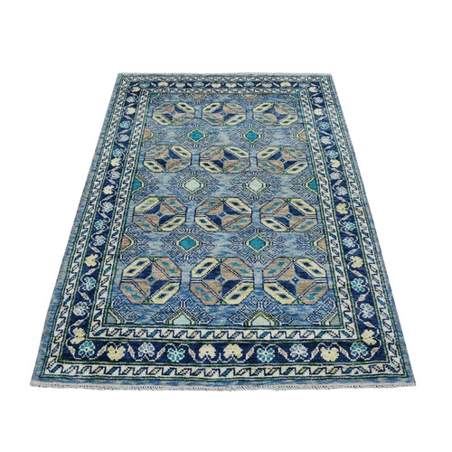 Blue Tribal Design Hand Knotted Colorful Afghan Baluch Pure Wool Oriental Rug