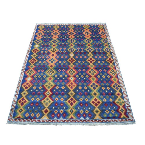 Blue Colorful Afghan Baluch Geometric Design Hand Knotted Pure Wool Oriental Rug