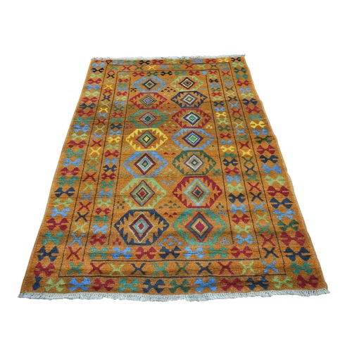 Orange Colorful Afghan Baluch Tribal Design Hand Knotted Pure Wool Oriental