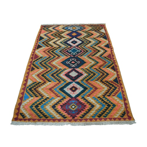 Orange Colorful Afghan Baluch Geometric Design Hand Knotted Pure Wool Oriental