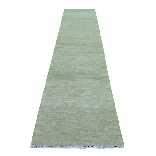 Green Shades Flat Weave Kilim Pure Wool Hand Woven Runner Oriental