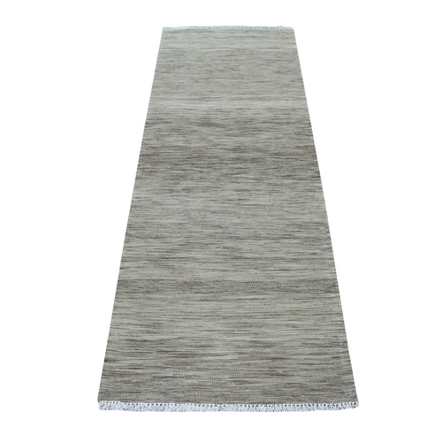 Gray Green Reversible Kilim Pure Wool Hand Woven Runner Oriental