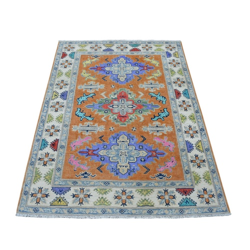 Colorful OrangeFusion Kazak Pure Wool Geometric Design Hand Knotted Oriental