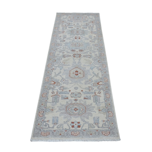 White Wash Peshawar Pure Wool Hand Knotted Runner Oriental