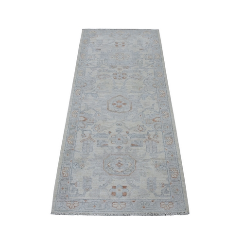 White Wash Peshawar Pure Wool Hand Knotted Runner Orientals