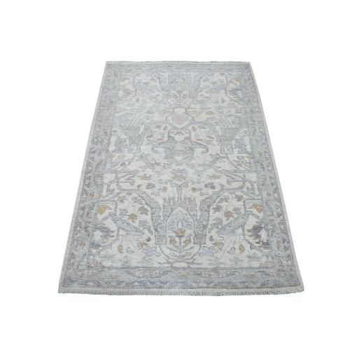 White Wash Peshawar Mahal Design Pure Wool Hand Knotted Oriental