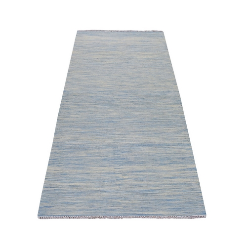 Aquamarine Shades Reversible Kilim Pure Wool Hand Woven Runner Oriental