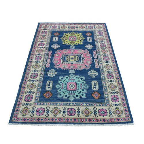 Colorful Blue Fusion Kazak Pure Wool Geometric Design Hand Knotted Oriental
