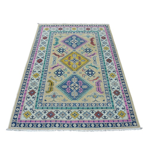 Colorful Beige Fusion Kazak Pure Wool Hand Knotted Oriental