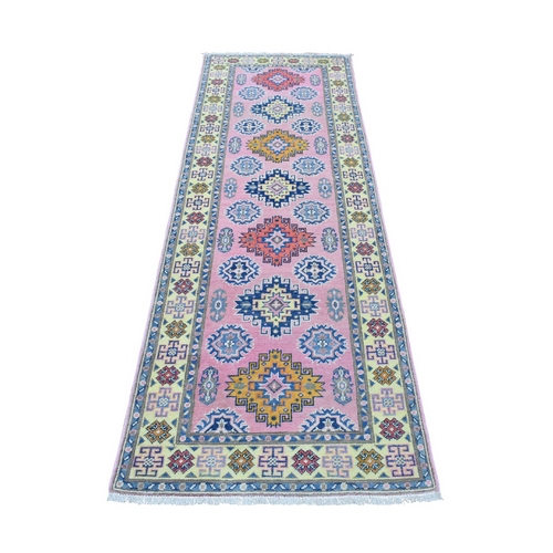 Colorful Pink Fusion Kazak Pure Wool Geometric Design Runner Hand Knotted Oriental